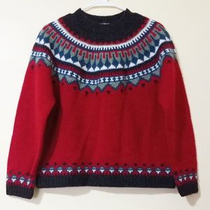 Eddie Bauer Crew Neck 100% Wool Sweater Red M